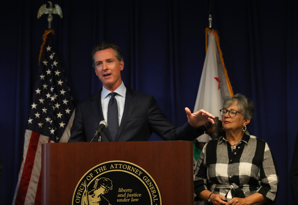 California Gov. Gavin Newsom speaks during a news conference at the California justice department on September 18, 2019 in Sacramento, California.