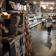 A customer walks in the Record Collector store in Sheffield, England, Friday. Hundreds of independent record stores are putting on special promotions for Saturday's Record Store Day.