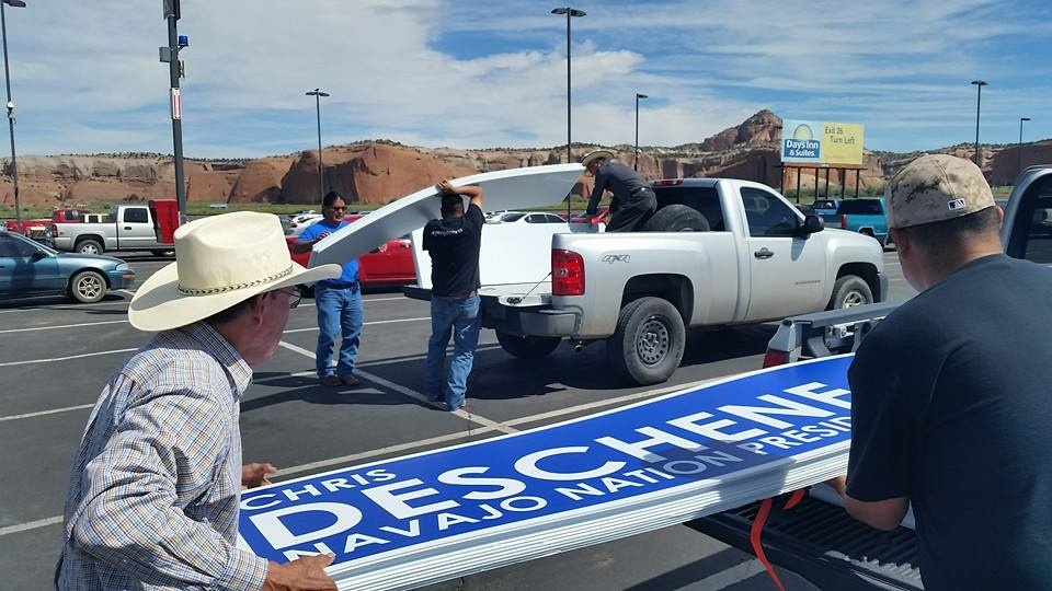 Supporters of Navajo Nation presidential candidate Chris Deschene out campaigning.