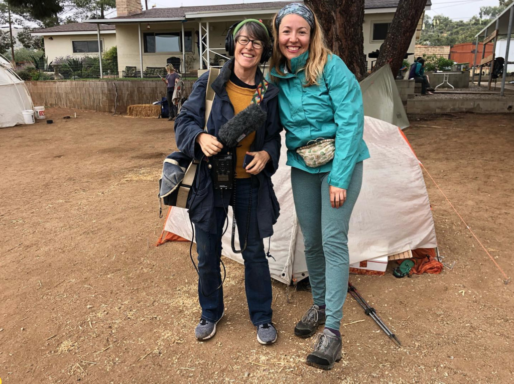Reporter Sharon McNary and Pacific Crest Trail through-hiker Jazmín Ortega meet up at Hiker Heaven, one of a few spots along the trail that offer camping space and other comforts at no cost.