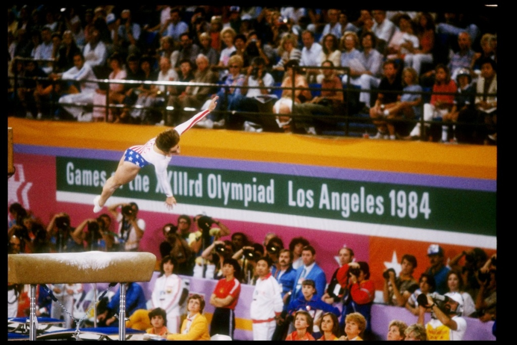 1984:  Mary Lou Retton of the United States in action during the Summer Olympics in Los Angeles, California. Mandatory Credit: Trevor Jones  /Allsport