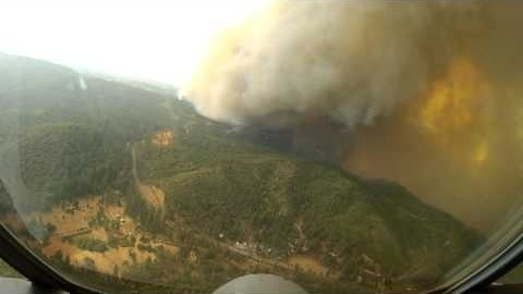 Aerial firefighting footage from the Rim Fire burning west of Yosemite National Park, taken Aug. 19 at 2:50 p.m.