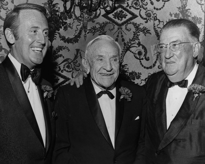 Dodger announcer Vin Scully, Casey Stengel and Dodger team owner, Walter O'Malley. Photo dated: December 4, 1970.