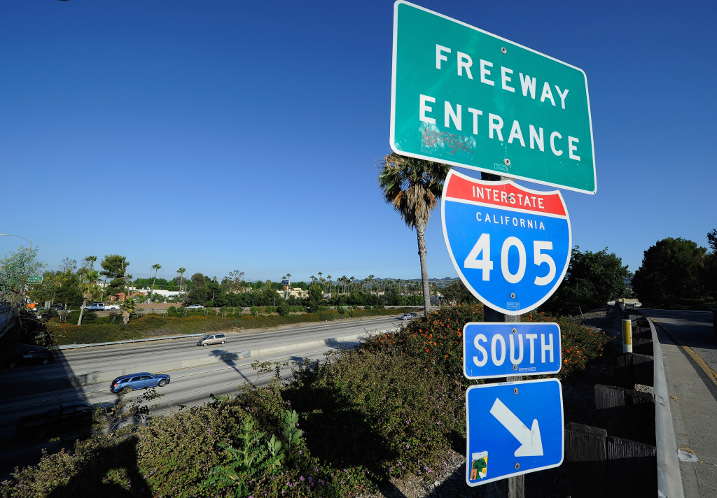A freeway entrance sign stands near the Burbank Boulevard ramp on Interstate 405.