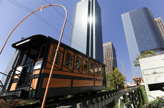 Angels Flight, the landmark funicular railway in the Bunker Hill district of downtown Los Angeles, resumed operation after a nine year absence. Photo taken on March 14, 2010.