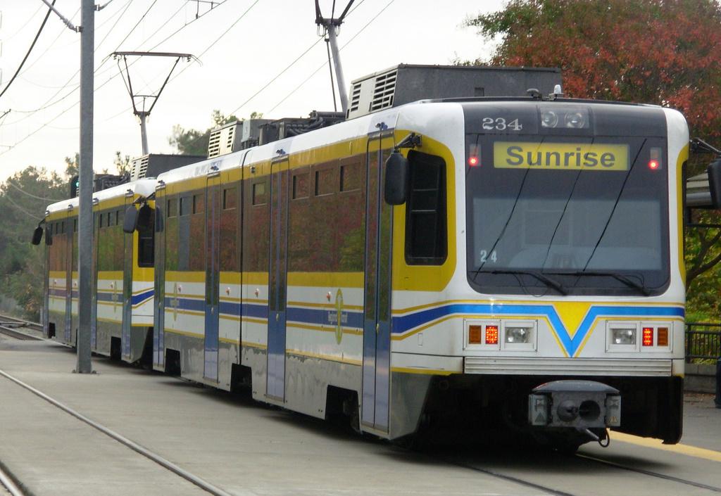 One of Sacramento's light rail trains