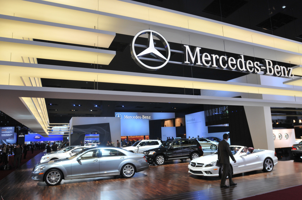 The Mercedes-Benz cars are displayed during the second press preview day at the Detroit International Auto Show at the Cobo Center January 12, 2009 in Detroit, Michigan.