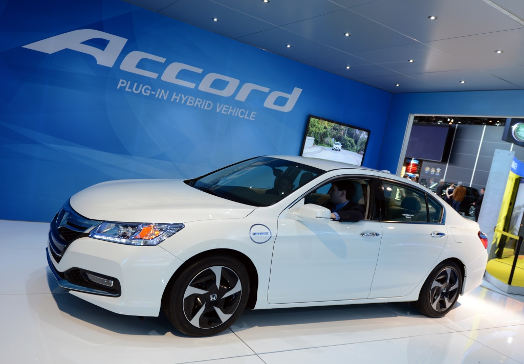The Honda Accord plug-in hybrid on display at the 2013 North American International Auto Show in Detroit, Michigan, Jan. 15, 2013.