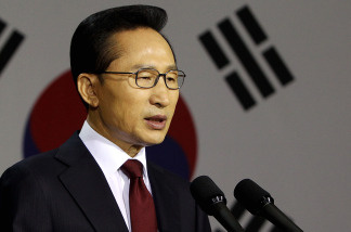 South Korean President Lee Myung-bak speaks during a press conference Monday at a war memorial in Seoul. Lee announced plans to take North Korea to the U.N. Security Council and suspended most trade between the two Koreas after an investigation concluded the North was responsible for the March 26 sinking of a South Korean warship.