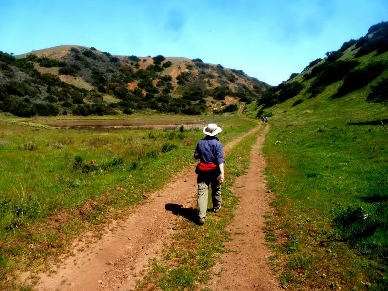 A hiker walks along one of the trails at Catalina Island.