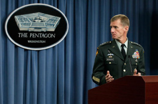 Commander of the International Security Assistance Force and Commander of U.S. Forces Afghanistan General Stanley McChrystal speaks during a news briefing at the Pentagon May 13, 2010 in Arlington, Virginia.