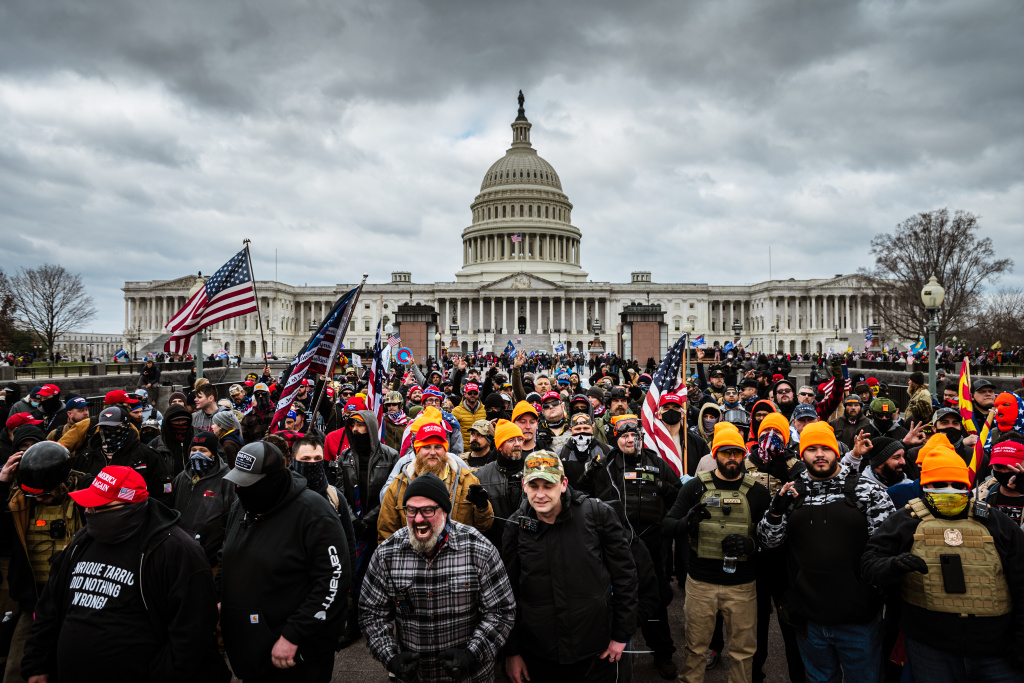 Pro-Trump protesters gather in front of the U.S. Capitol Building on January 6, 2021 in Washington, DC. A pro-Trump mob stormed the Capitol, breaking windows and clashing with police officers.