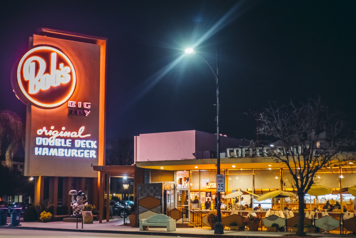 Bob's Big Boy in Burbank is a marvel of Googie architecture.