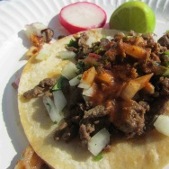 Carne asada taco from Guerrero Bros.
