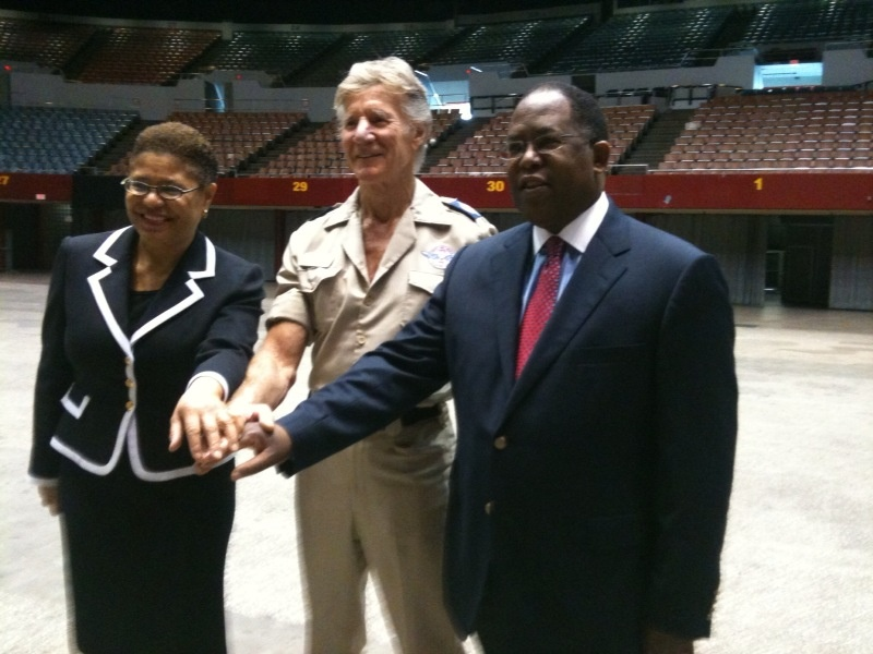 State Assemblywoman Karen Bass, Remote Area Medical Founder Stan Brock and Los Angeles County Supervisor Mark Ridley Thomas at the L.A. Sports Arena, where the massive free health clinic will take place next month.