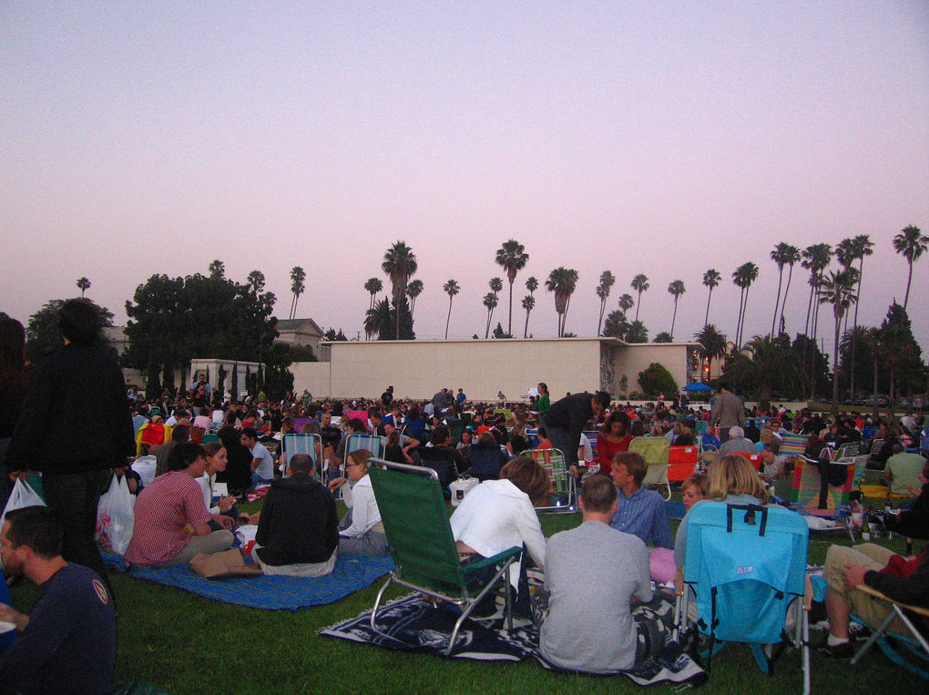 A crowd settles in for a screening of Lolita at the Hollywood Forever Cemetery.