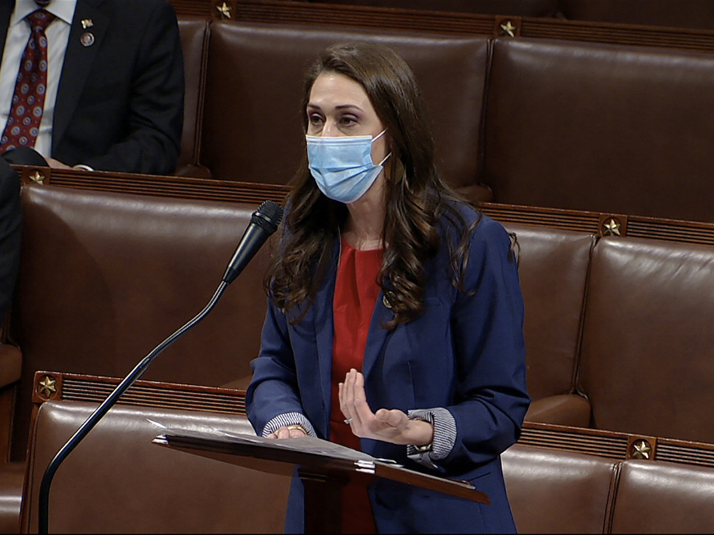 Rep. Jaime Herrera Beutler, a Republican, has faced mixed reaction in her Washington state district for her support of former President Donald Trump's impeachment. Above, Herrera Beutler speaks as the House debates an objection to the Electoral College vote in January.