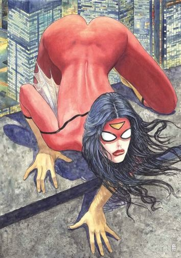 Spider-Woman cover art, as drawn by Milo Manara
