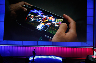 A Playstation Vita is presented at the Sony Playstation media briefing on the eve of the Electronic Entertainment Expo (E3) on June 6, 2011 in Los Angeles, California.