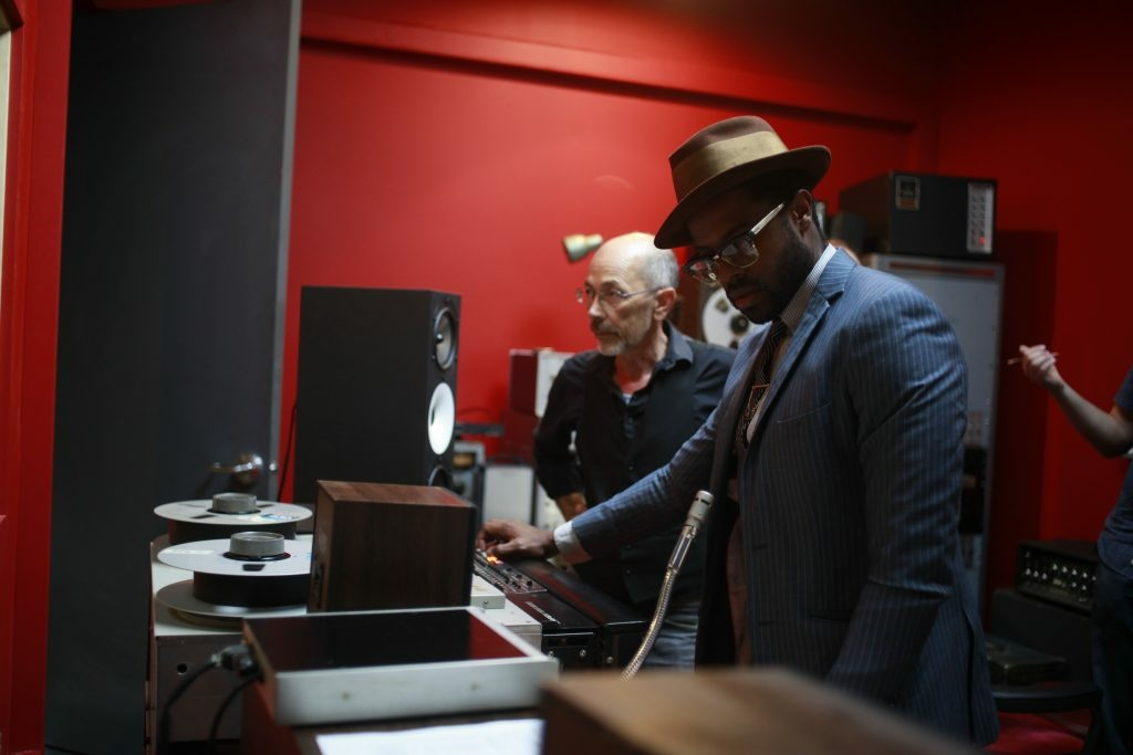 Musician and producer Adrian Younge, right, at his Linear Labs studio in Highland Park.
