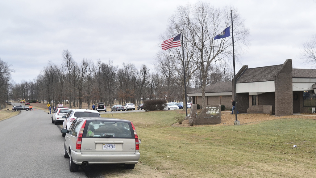 Marshall County High School in Benton, Ky., seen Tuesday after a student allegedly opened fire on his classmates, killing at least two people.