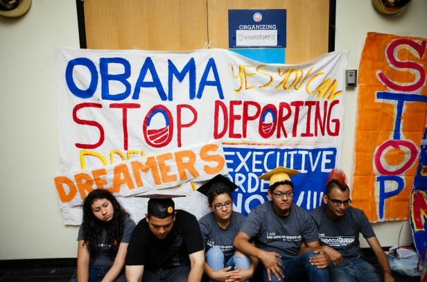 Undocumented immigrant students stage a sit- in at President Obama's Culver City, Calif. campaign office, June 15, 2012