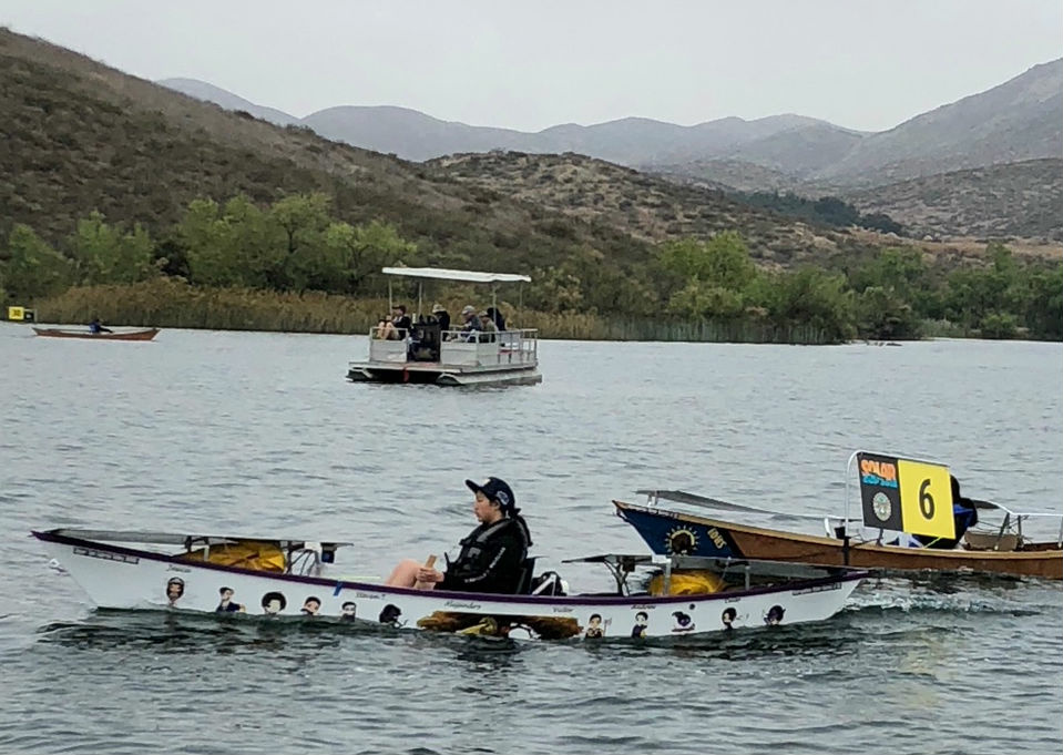 High school students race boats they built themselves across Lake Skinner near Temecula in the 2018 Solar Cup.