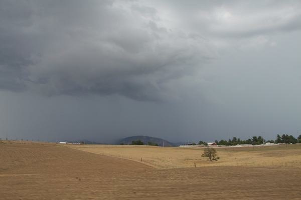 Storm clouds menace Beaumont, California on Tuesday, September 16, 2014.