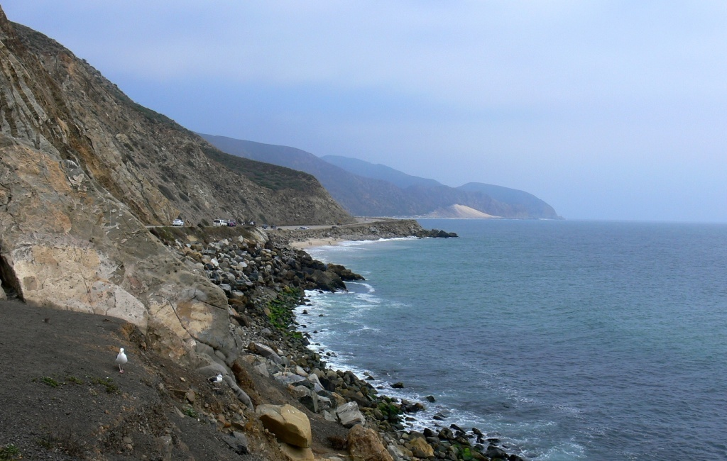 A view of the Pacific Coast Highway north of Malibu. Traffic will be start-and-stop Monday and Tuesday as Caltrans works to remove rocks and boulders that may have been dislodged by recent fires.
