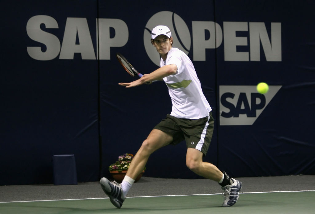 Andy Murray of Great Britain competes against Andy Roddick of the U.S. during the semifinal match at the SAP Open held at the HP Pavilion February 17, 2006 in San Jose, California. Andy Murray defeated Andy Roddick 7-6 (8), 6-4.