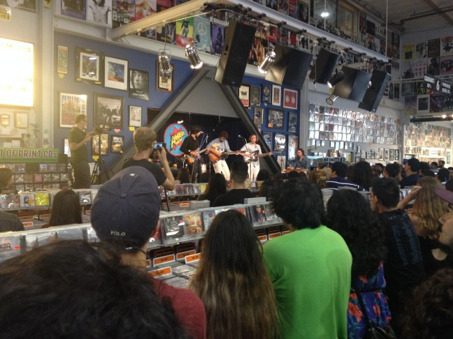 Allah-Las performing at Amoeba Records in Hollywood, where three of the band's members once worked.