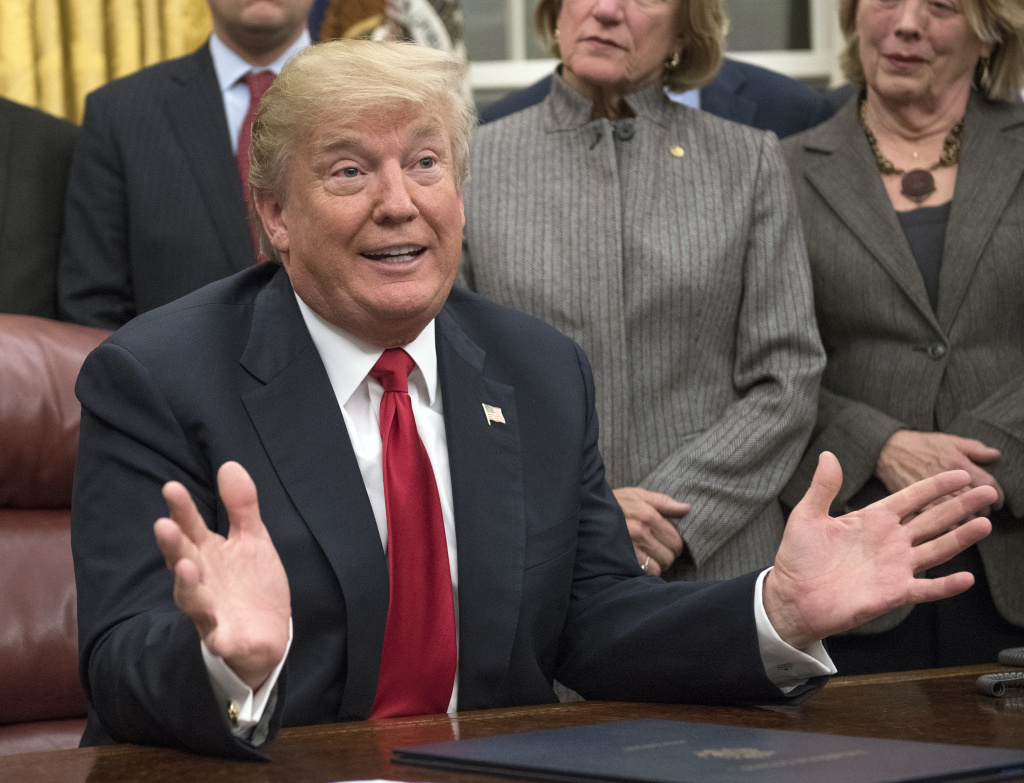 U.S. President Donald Trump makes remarks in the Oval Office prior to signing the bipartisan Interdict Act, a bill to stop the flow of opioids into the United States, on January 10, 2018 in Washington, D.C.