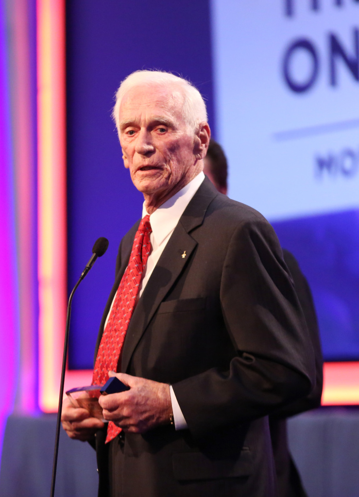"Retired astronaut Gene Cernan accepts an award from AARP in February 2016 for his documentary film, ""Last Man on the Moon."""