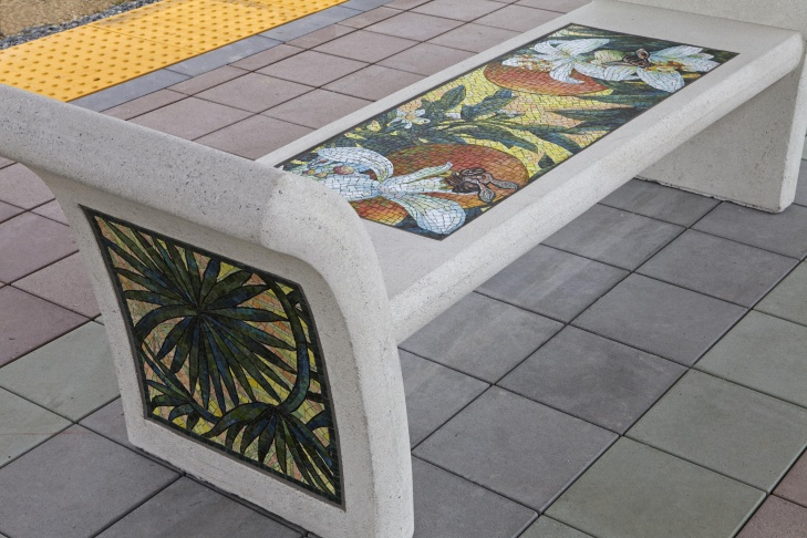 Portals at Azusa Downtown station, by Jose Antonio Aguirre.