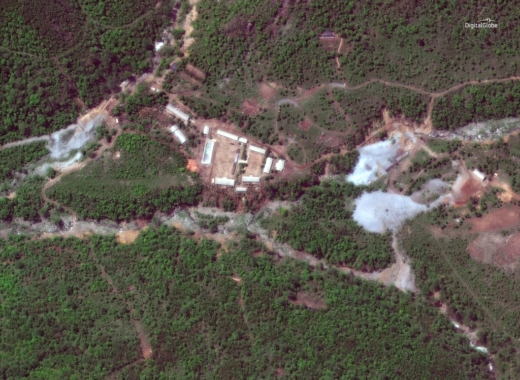 A satellite photo of the Punggye-ri nuclear test site in North Korea on May 23, 2018.