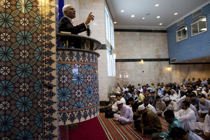 Friday afternoon prayer at the King Fahad Mosque in Culver City. The Safe Spaces Initiative seeks to provide resources to mosques to help them intervene when someone appears to be headed toward violent extremism.
