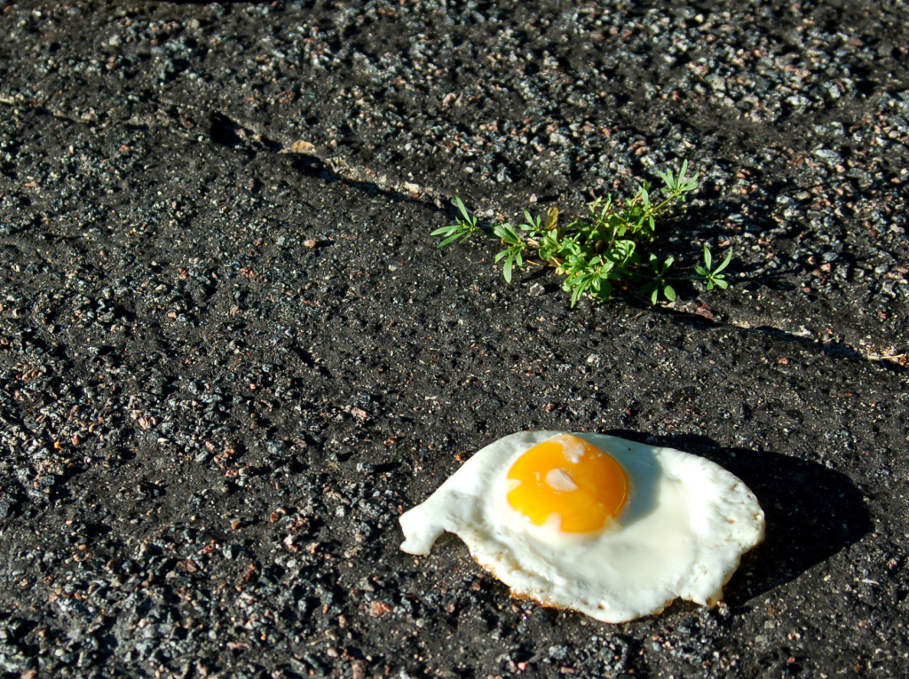 Hot enough to fry an egg on the sidewalk? Probably not — this one was cooked inside first.