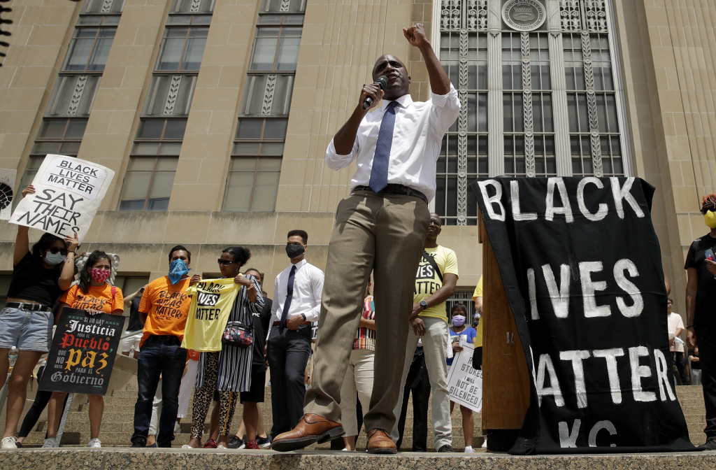 Mayor Quinton Lucas talks to demonstrators during a rally in Kansas City, Mo., on June 5, to protest the death of George Floyd.