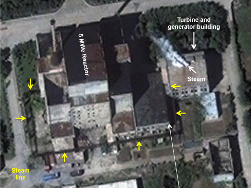 This is a DigitalGlobe image of the 5-megawatt (electric) reactor at North Korea's Yongbyon facility, Aug. 31, with steam seen coming from the electrical power generation building.