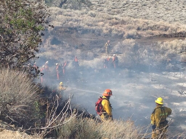 Mop-up work at the Pine Fire in northern Los Angeles County on Friday, March 14, 2014.