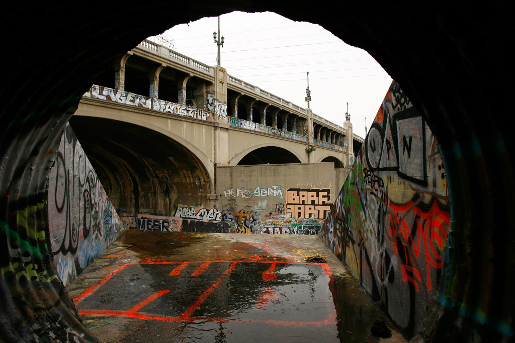 The 7th Street Bridge, which crosses the Los Angeles River, covered by graffiti in Los Angeles, California.