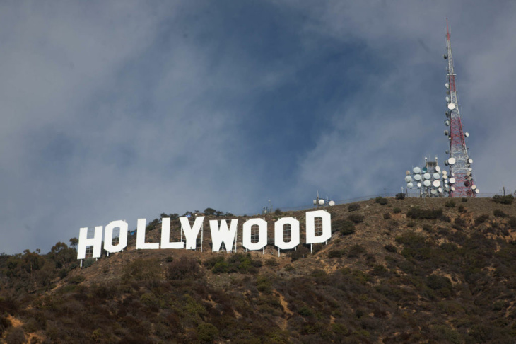 The Hollywood sign is shown on Dec. 4, 2012, with its brand-new paint job.