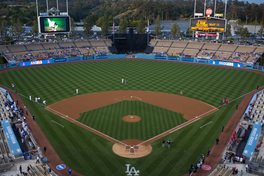 Dodger Stadium in April 2012. The L.A. Dodgers created a new regional sports network to carry Dodgers games beginning with the 2014 season.