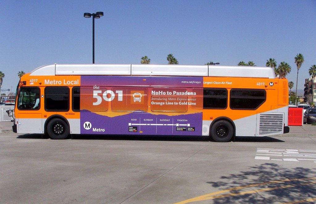 The new service, Line 501, will connect the Metro Red and Orange lines in North Hollywood and the Metro Gold Line in Pasadena.