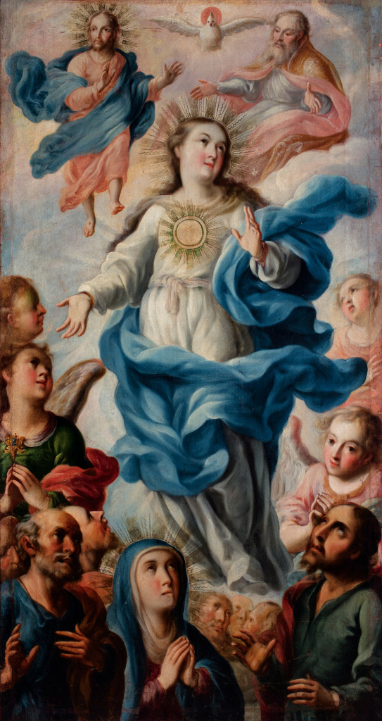 "Antonio de Torres, Assumption of the Virgin (La Asunción de la Virgen), 1719. The painting is part of ""Painted in Mexico, 1700–1790: Pinxit Mexici,"" at LACMA through March 18, 2018."