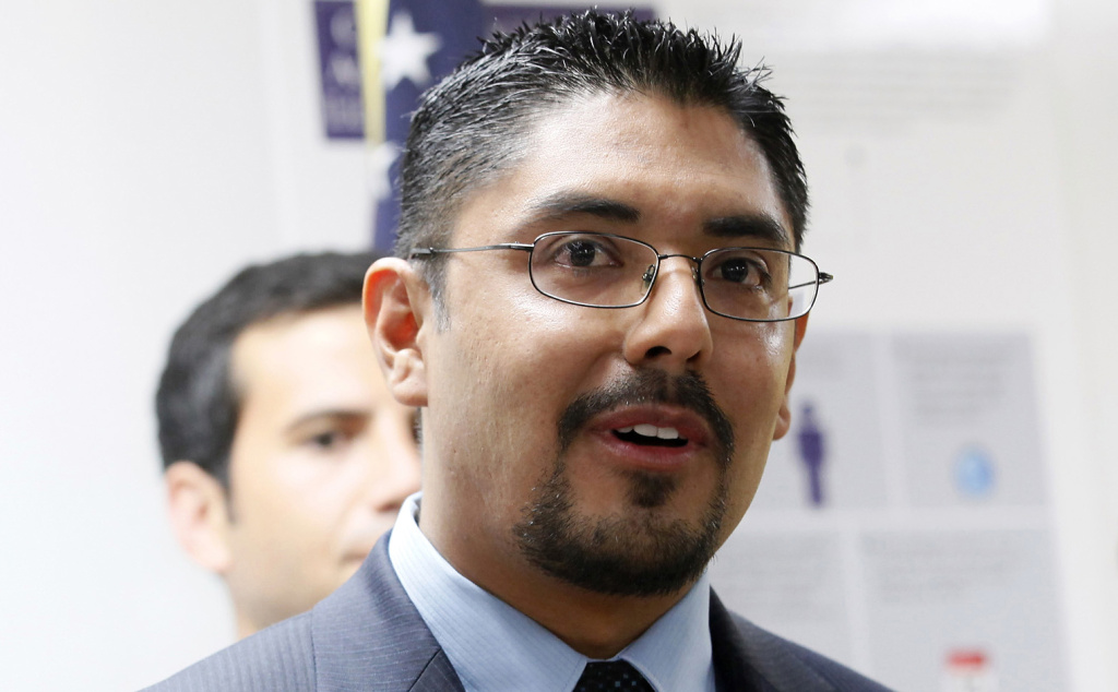 This Tuesday Aug. 27, 2013 photo Sergio Garcia speaks at The Coalition for Humane Immigrant Rights of Los (CHIRLA) news conference in Los Angeles. Garcia a law school graduate who passed Californiaís bar examination and is living in the United States illegally,  is being refused by California State Bar officials to issue him a lawyerís license because of his immigration status. On Sept. 4, the California Supreme Court will hear arguments from the Obama administration, who opposes Garciaís bid to become a lawyer along with the State Bar of California, California Attorney General Kamala Harrisí office, which supports Garcia and from his lawyers.