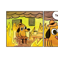 "The first two cells of artist KC Green's comic ""On Fire."" It has since become a meme online called ""This Is Fine."""