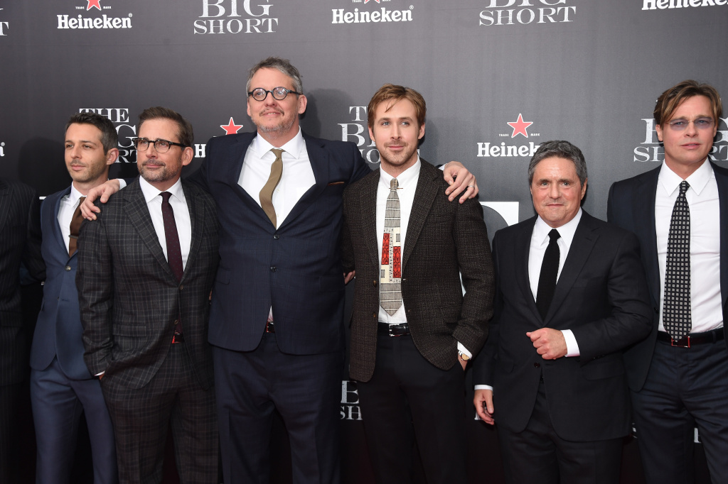 (L-R) Jeremy Strong, Steve Carell, Adam McKay, Ryan Gosling, Brad Grey and Brad Pitt attend the premiere of