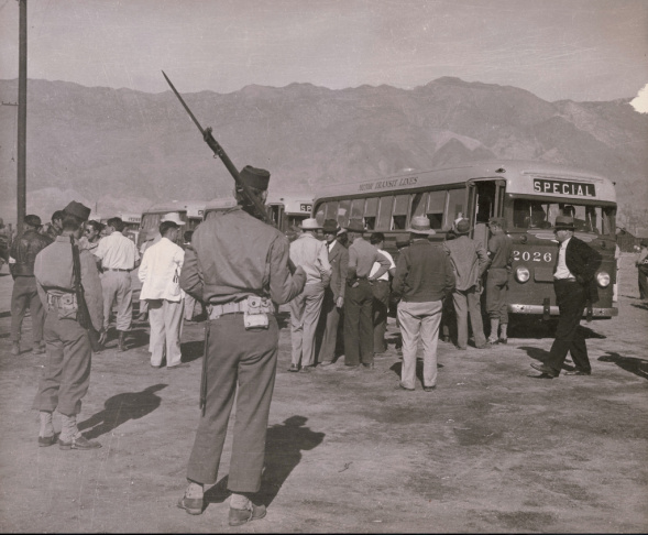 Internees at the Manzanar camp in central California, circa 1942.