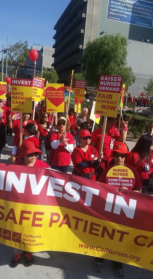 FILE PHOTO: Nurses picket during their one-week strike against Kaiser Permanente's Los Angeles Medical Center in March 2016.
